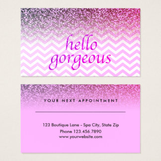 Beauty Salon Appointment Hello Gorgeous Chevrons Business Card