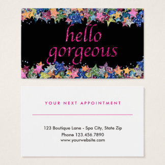 Beauty Salon Appointment | Hello Gorgeous Glitter Business Card