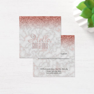 Beauty Salon Appointment Hello Gorgeous Marble Square Business Card