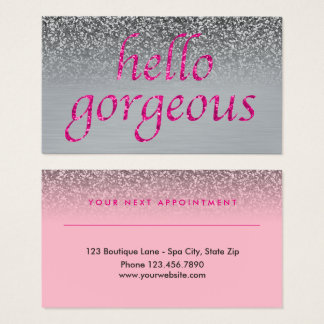Beauty Salon Appointment Hello Gorgeous Pink Gray Business Card