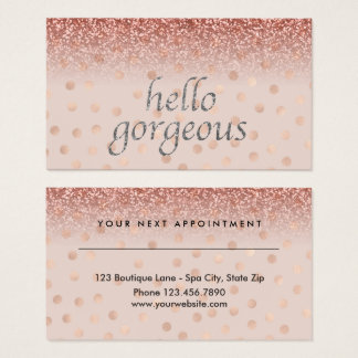 Beauty Salon Appointment Hello Gorgeous Polka Dots Business Card