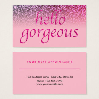 Beauty Salon Appointment Pink | Hello Gorgeous Business Card