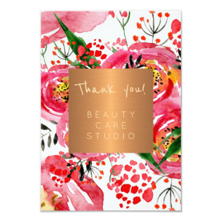 Beauty salon copper metallic peonies thank you card