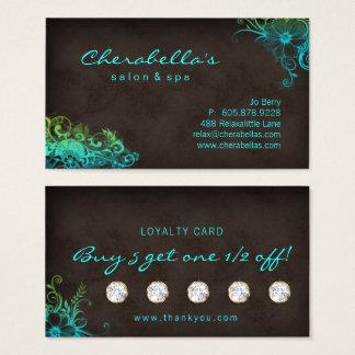 Beauty Salon Floral Loyalty Card Blue Green