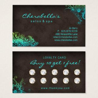 Beauty Salon Floral Loyalty Card Blue Green 2