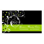 Beauty Salon floral scroll leaf black, lime green Pack Of Standard Business Cards