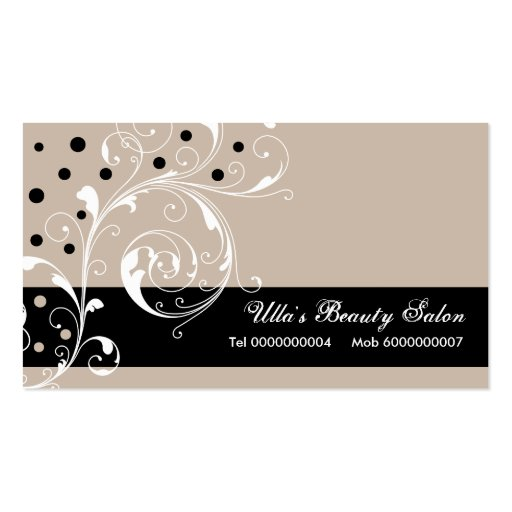 Beauty Salon floral scroll leaf black, pale taupe Business Card Template