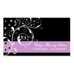 Beauty Salon floral scroll leaf black purple Pack Of Standard Business Cards