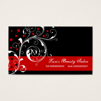 Beauty Salon floral scroll leaf black, red Business Card