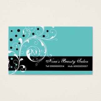Beauty Salon floral scroll leaf black, turquoise