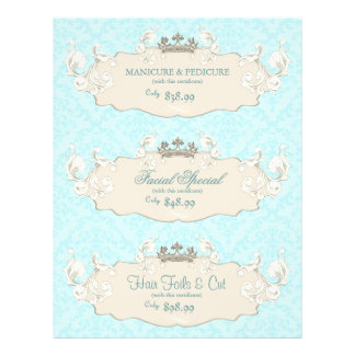 Beauty Salon Flyer Crown Blue Beige Damask