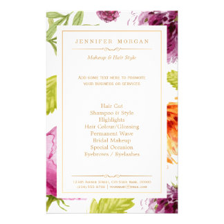 Beauty Salon Garden Floral Boutique Service Menu 14 Cm X 21.5 Cm Flyer