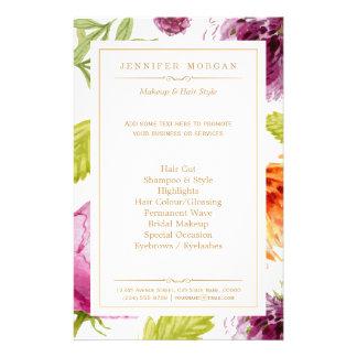 Beauty Salon Garden Floral Boutique Service Menu 14 Cm X 21.5 Cm Flyer