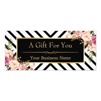 Beauty Salon Gift Certificate Gold Floral Stripes 10 Cm X 24 Cm Invitation Card