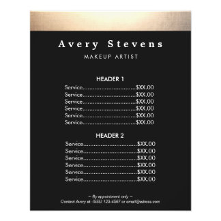 Beauty Salon Gold and Black Price List Menu 11.5 Cm X 14 Cm Flyer