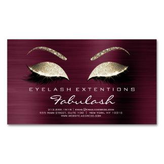 Beauty Salon Gold Glitter Adress Lashes  Burgundy Magnetic Business Card