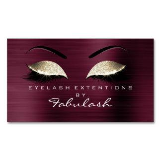 Beauty Salon Gold Glitter Branding Makeup Burgundy Magnetic Business Card