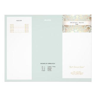Beauty Salon Gold Light Blue Circle Menu Brochure 21.5 Cm X 28 Cm Flyer