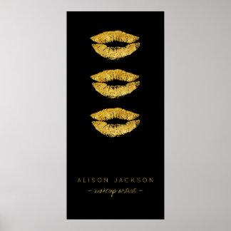 Beauty salon gold lips black glam promotional poster