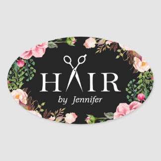 Beauty Salon Hair Cut Scissor Logo Elegant Floral Oval Sticker
