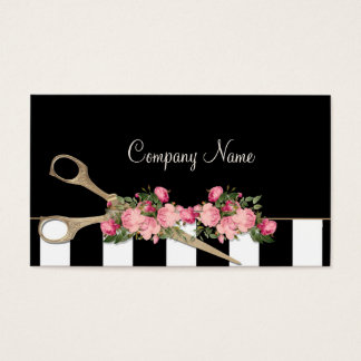 Beauty Salon Hair Studio Roses Stripes Fashion Business Card