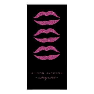 Beauty salon hot pink lips black glam promotional poster