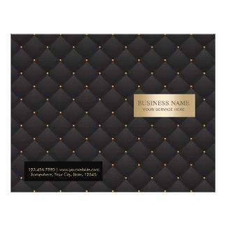 Beauty Salon Luxury Black & Gold Quilted Bi-Fold Flyer