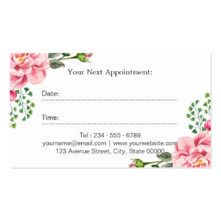 Beauty Salon Makeup Script Floral Appointment Card Pack Of Standard Business Cards