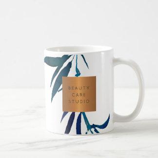 Beauty salon name glam copper watercolor foliage coffee mug