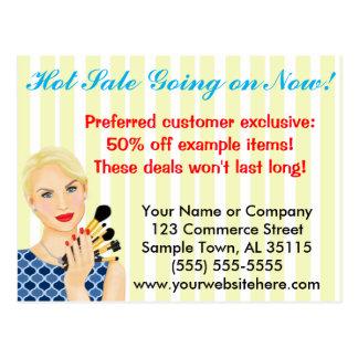 Beauty, Salon or Makeup Sales Announcement Postcard