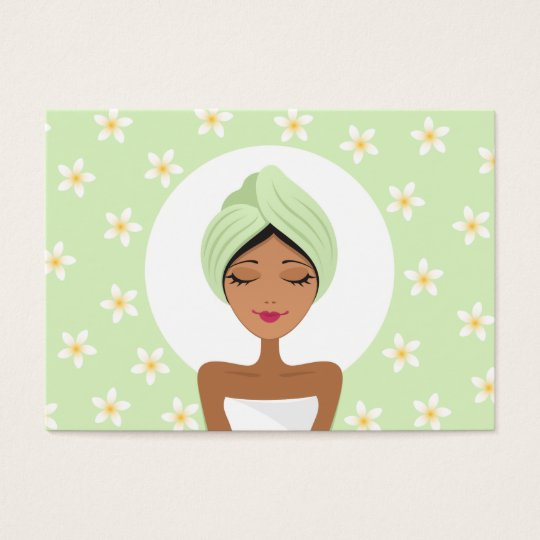 Beauty salon or spa business card with plumeria