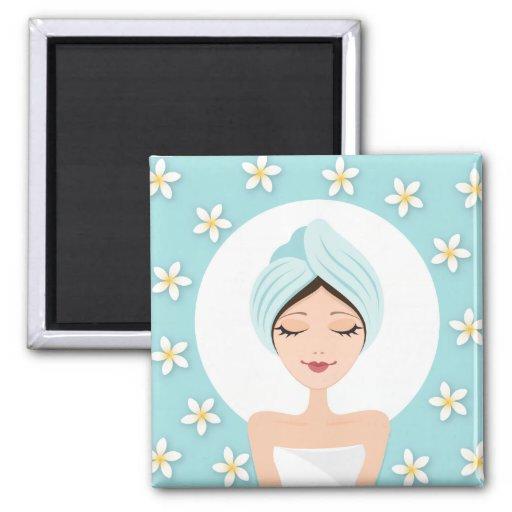 Beauty salon or spa woman wrapped towel aqua blue magnets