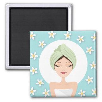 Beauty salon or spa woman wrapped towel aqua blue square magnet