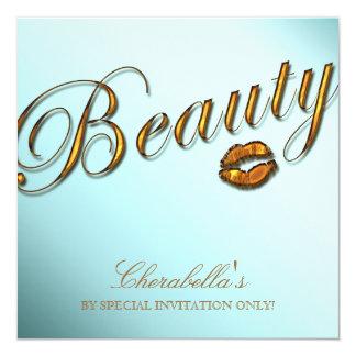 Beauty Salon Sale Promo Invititation Gold Lips 13 Cm X 13 Cm Square Invitation Card