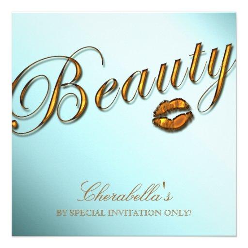 Beauty Salon Sale Promo Invititation Gold Lips Announcements