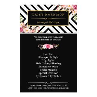 Beauty Salon Vintage Floral Black White Stripes 14 Cm X 21.5 Cm Flyer