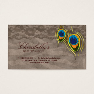 Beauty Salon Vintage Peacock Feather Brown Suede Business Card