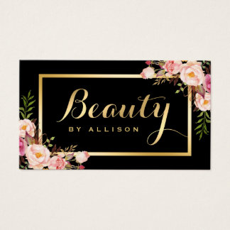 Beauty Script Makeup Salon Black Gold Floral