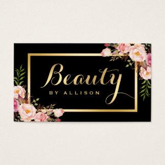 Beauty Script Makeup Salon Black Gold Floral