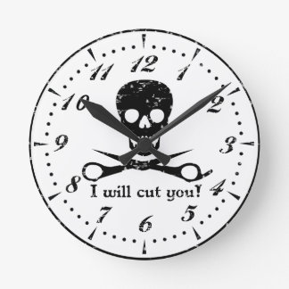 Beauty Shop Pirate Round Clock