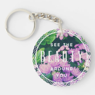 Beauty Single-Sided Round Acrylic Key Ring