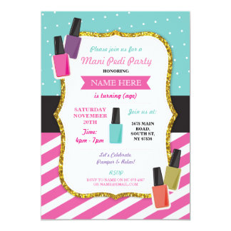 Beauty Spa Birthday Party Pamper Mani Pedi Invite