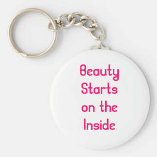 Beauty Starts on the inside Basic Round Button Key Ring