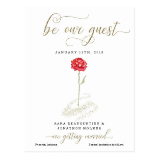 Beauty & the Beast Save the Date Announcement Postcard