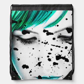 Beauty Woman Close Up Artistic Portrait Drawstring Bag