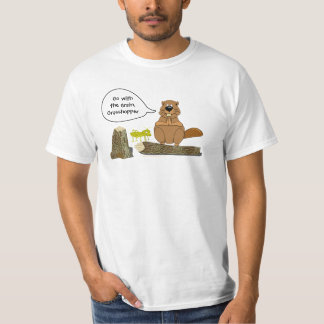 Beaver and Grasshopper Funny Woodturning Cartoon T-Shirt