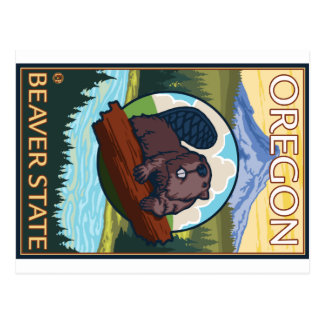 Beaver and Mount Hood Scene - Oregon Postcard