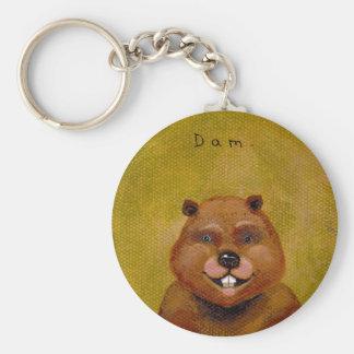 Beaver art original painting slightly deranged fun basic round button key ring