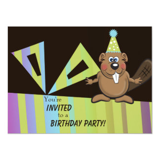 beaver birthday invite