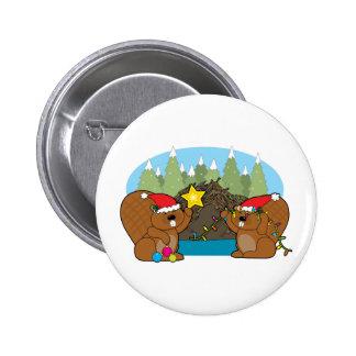 Beaver Christmas 6 Cm Round Badge